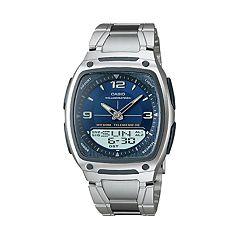 Casio Men's Illuminator World Time Analog & Digital Databank Chronograph Watch AW81D-2AV