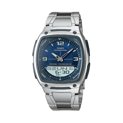 Casio Illuminator Silver Tone Databank World Time Analog and Digital Chronograph Watch - Men