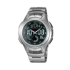 Casio Men's Illuminator Sport Stainless Steel Analog & Digital Chronograph Watch AQ160WD-1BV