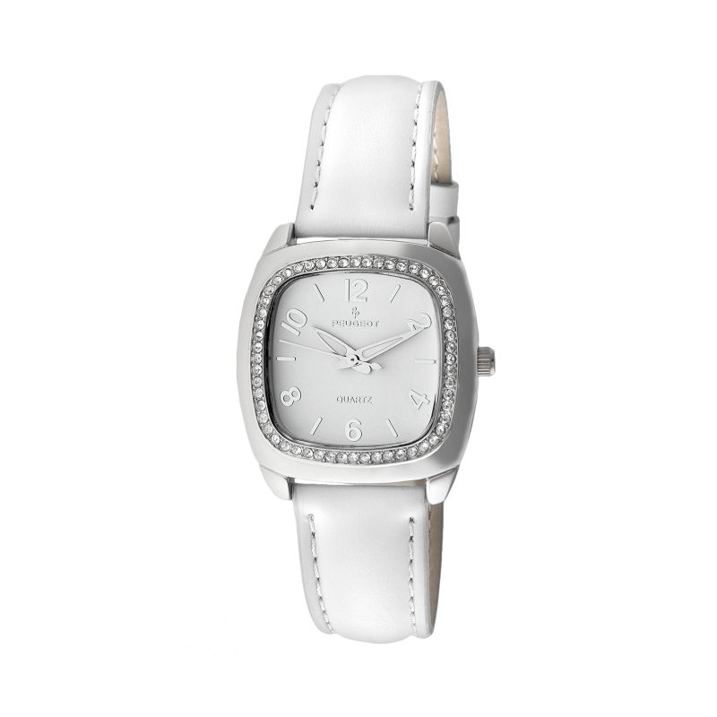 Peugeot Silver-Tone Crystal Leather Watch - Made with Swarovski Crystals - Women, White thumbnail