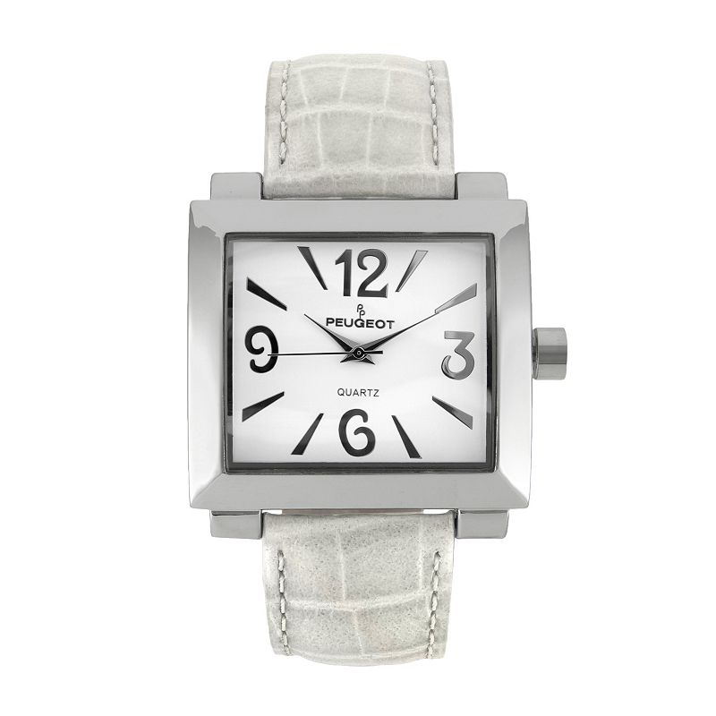 Peugeot Silver-Tone Leather Watch