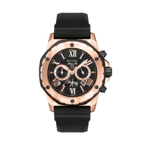 Bulova Marine Star Stainless Steel Rose Gold Tone Chronograph Watch - Men
