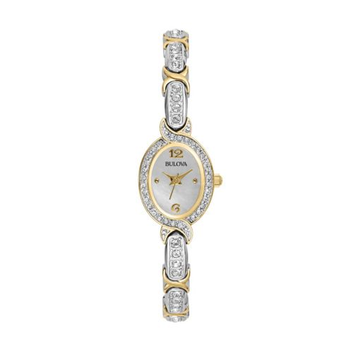 Bulova Two Tone Mother-of-Pearl Crystal Watch - Women
