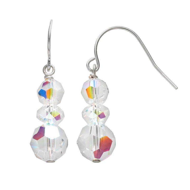 Sterling Silver Crystal Linear Drop Earrings