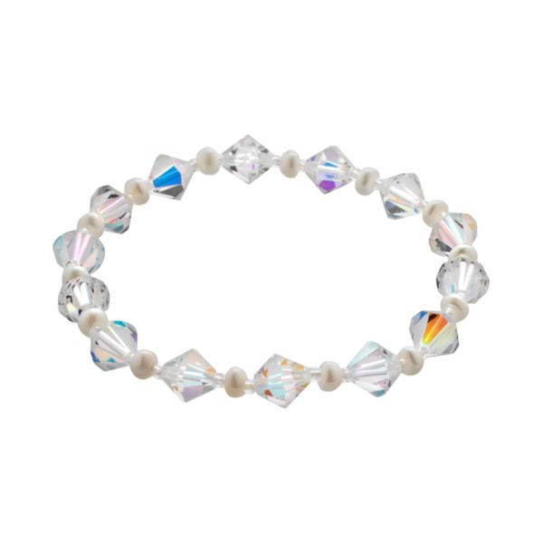 Crystal and Freshwater Cultured Pearl Stretch Bracelet