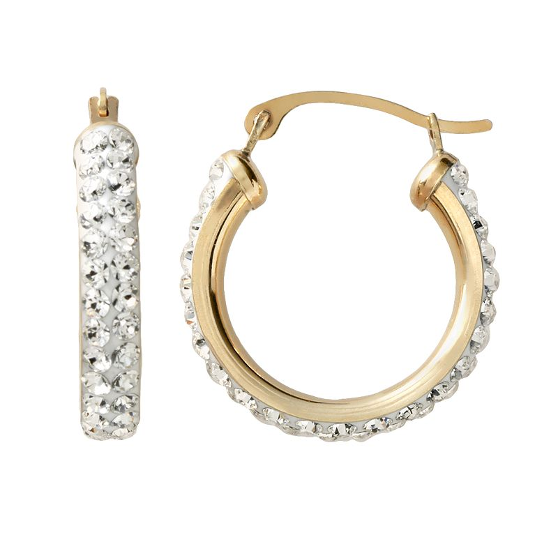 Gold 'N' Ice 14k Gold Crystal Hoop Earrings - Made with Swarovski Crystals