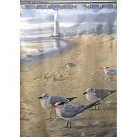 Hautman Brothers At The Beach Fabric Shower Curtain