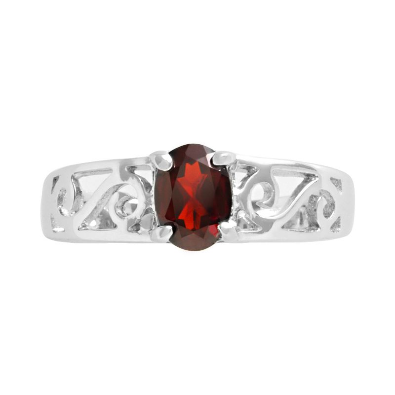Sterling Silver Garnet Filigree Ring