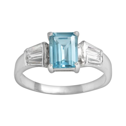 Sterling Silver Blue Topaz and Cubic Zirconia Ring