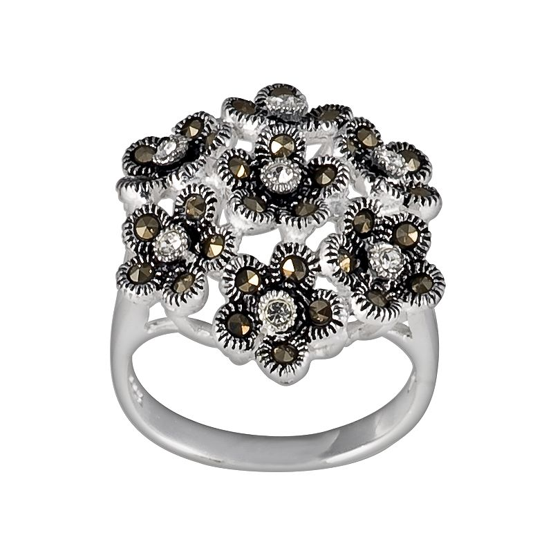 Sterling Silver Marcasite Floral Ring