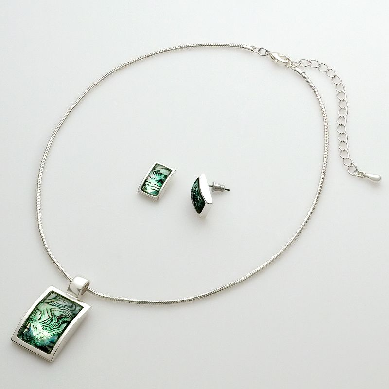 Croft & Barrow® Silver-Tone Square Pendant and Earring Set
