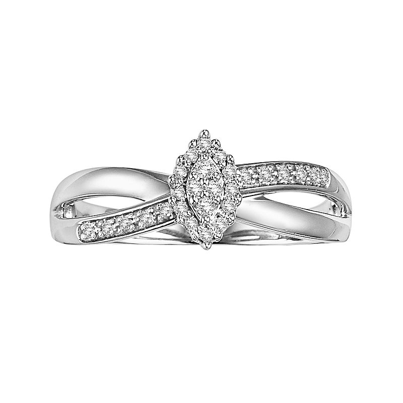 Cherish Always Round-Cut Certified Diamond Crisscross Engagement Ring in 10k White Gold (1/6 ct. T.W.)