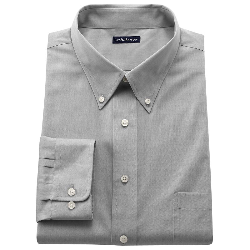 Men's Croft & Barrow® Classic Fit Solid Button-Down Collar Easy-Care Dress Shirt