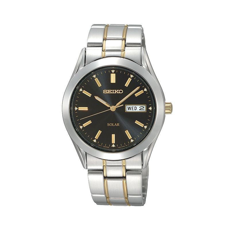 Seiko Men's Solar Two Tone Stainless Steel Watch - SNE047