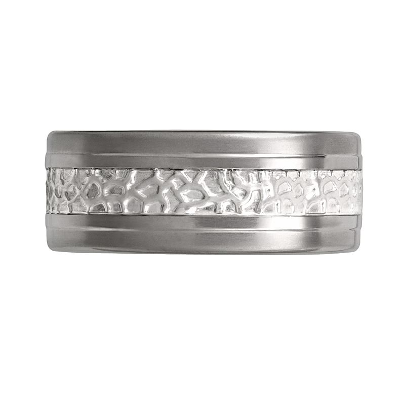 STI by Spectore Titanium and Sterling Silver Textured Band - Men