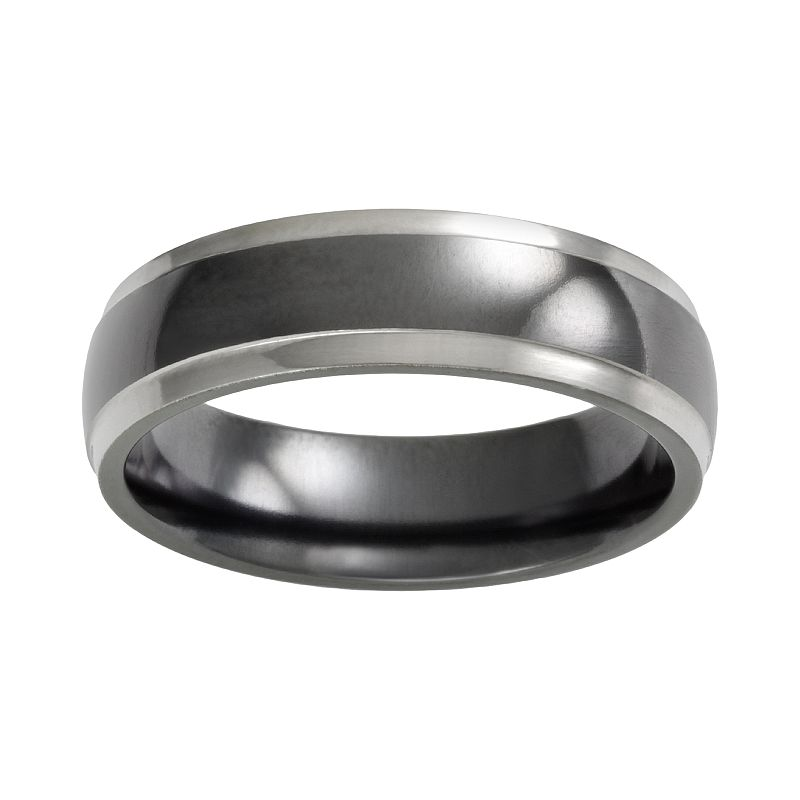 STI by Spectore Titanium Two Tone Dome Wedding Band - Men