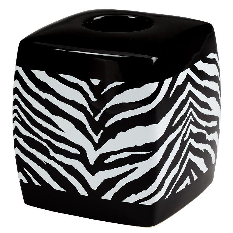 Creative Bath Zebra Tissue Holder, White/black