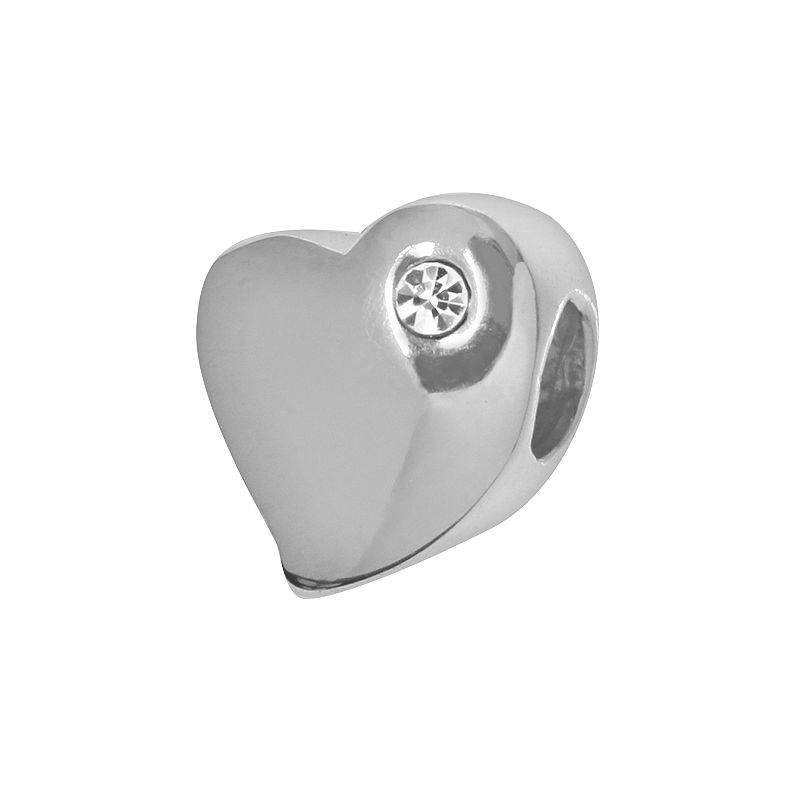 Individuality Beads Sterling Silver Crystal Accent Heart Bead