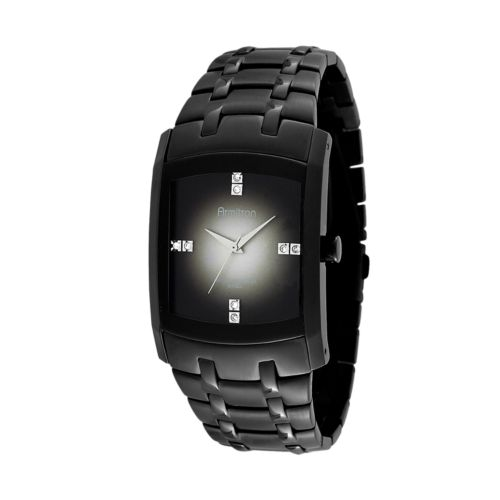 Armitron Stainless Steel Black Ion Crystal Watch - Men