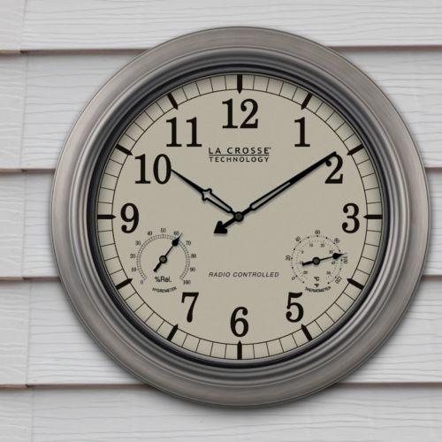 La Crosse Technology Atomic Analog Pewter Outdoor Wall Clock