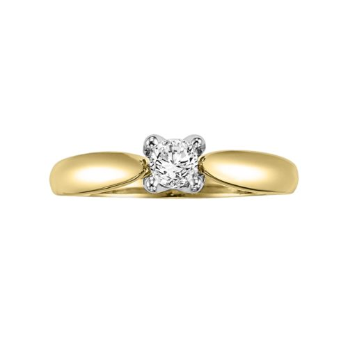 Cherish Always Round-Cut Certified Diamond Engagement Ring in 14k Gold Two Tone (1/3 ct. T.W.)