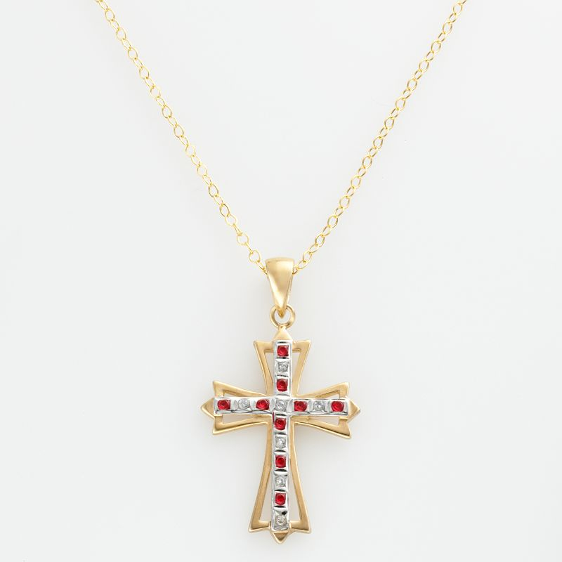 18k Gold-Over-Silver Ruby and Diamond Accent Cross Pendant