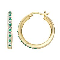 18k Gold-Over-Silver Emerald & Diamond Accent Hoop Earrings