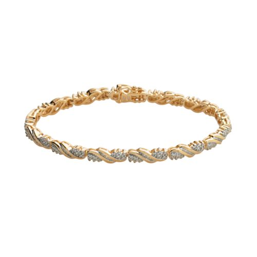 18k Gold-Over-Silver 1/4-ct. T.W. Diamond Twist Bracelet