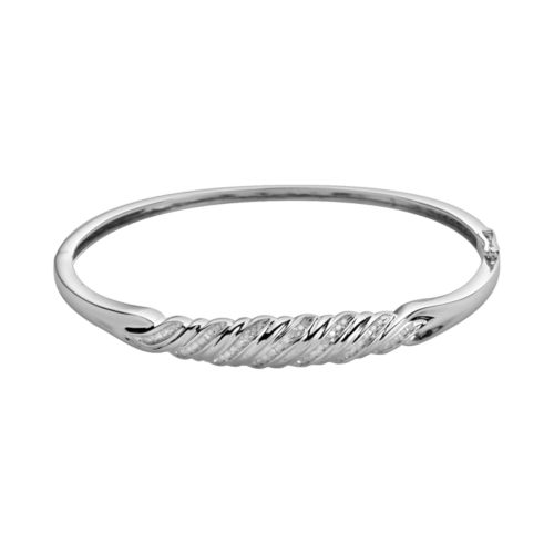 Sterling Silver 1/4-ct. T.W. Diamond Bangle Bracelet
