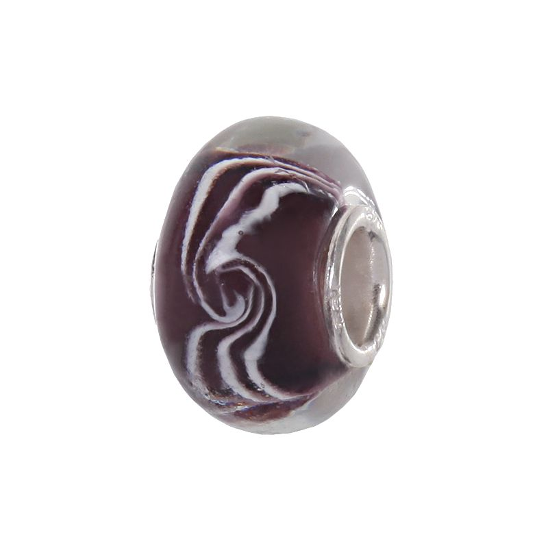 Individuality Beads Sterling Silver Purple and White Swirl Glass Bead