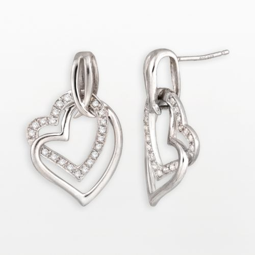 Two Hearts Forever One Sterling Silver 1/4-ct. T.W. Diamond Heart Drop Earrings