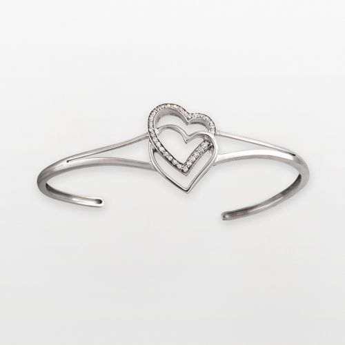Two Hearts Forever One Sterling Silver 1/4-ct. T.W. Diamond Heart Cuff Bracelet