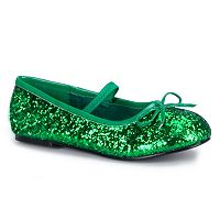 Green Sparkle Flat Costume Shoes - Kids