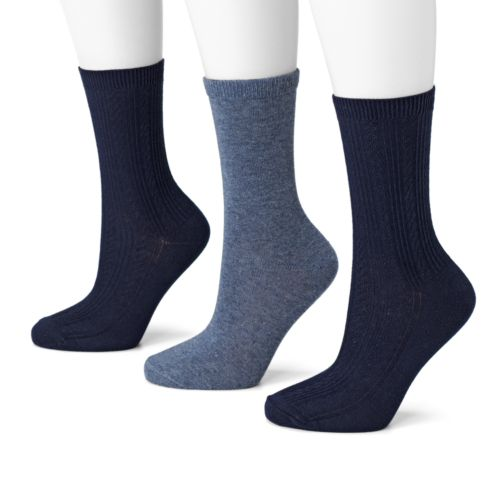 SONOMA life + style® 3-pk. Cable-Knit Crew Socks