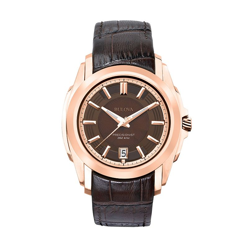 Bulova Precisionist Stainless Steel Rose Gold Tone Leather Watch - Men