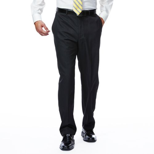 Haggar® Classic-Fit Flat-Front Black Shadow Striped Comfort Flex Waist Suit Pants - Men