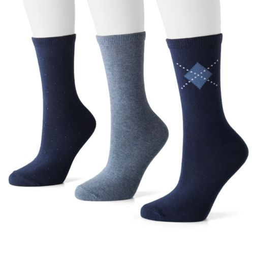 SONOMA life + style® 3-pk. Pin-Dot, Argyle and Solid Socks
