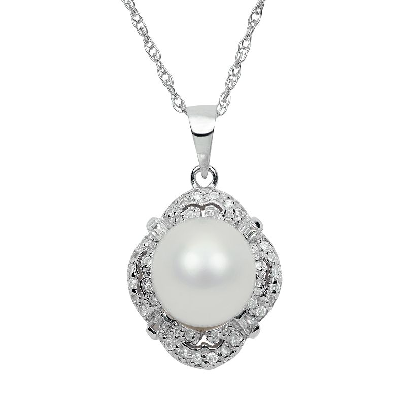 Sterling Silver Freshwater Cultured Pearl and Cubic Zirconia Pendant