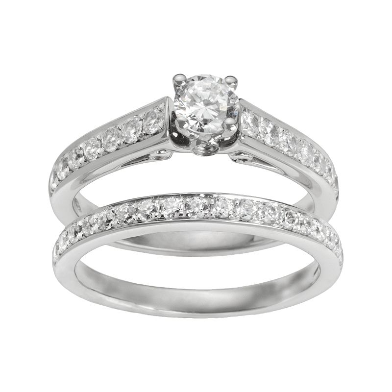 Round-Cut IGI Certified Diamond Engagement Ring Set in 14k White Gold (1 ct. T.W.)