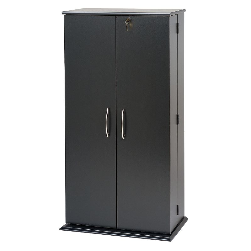 Prepac Tall Black Locking Multimedia Storage Cabinet