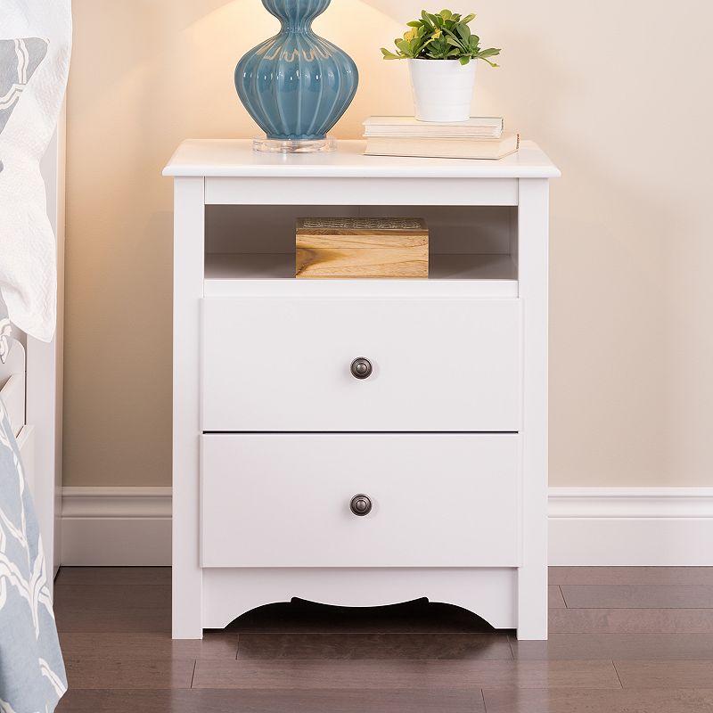 Prepac Monterey 2-Drawer Nightstand, White