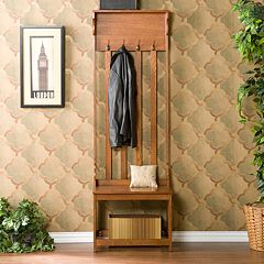 Mission Oak Hall Tree Entry Bench by