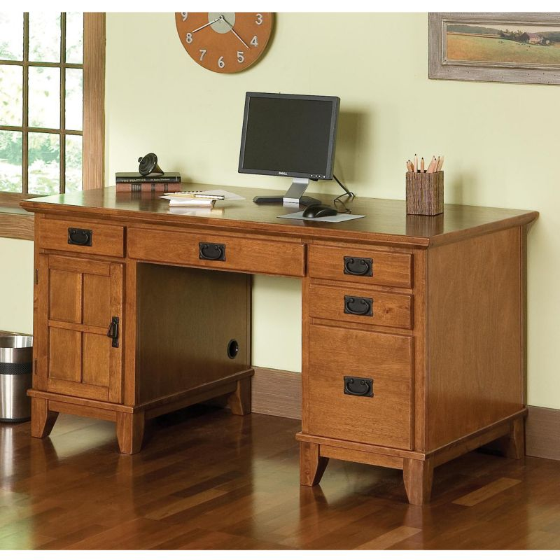 Arts and Crafts Double Pedestal Desk, Brown thumbnail