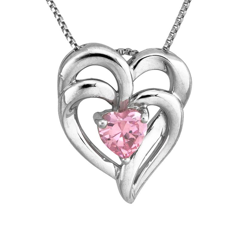 DiamonLuxe Sterling Silver .47-ct. T.W. Pink Simulated Diamond Heart Pendant
