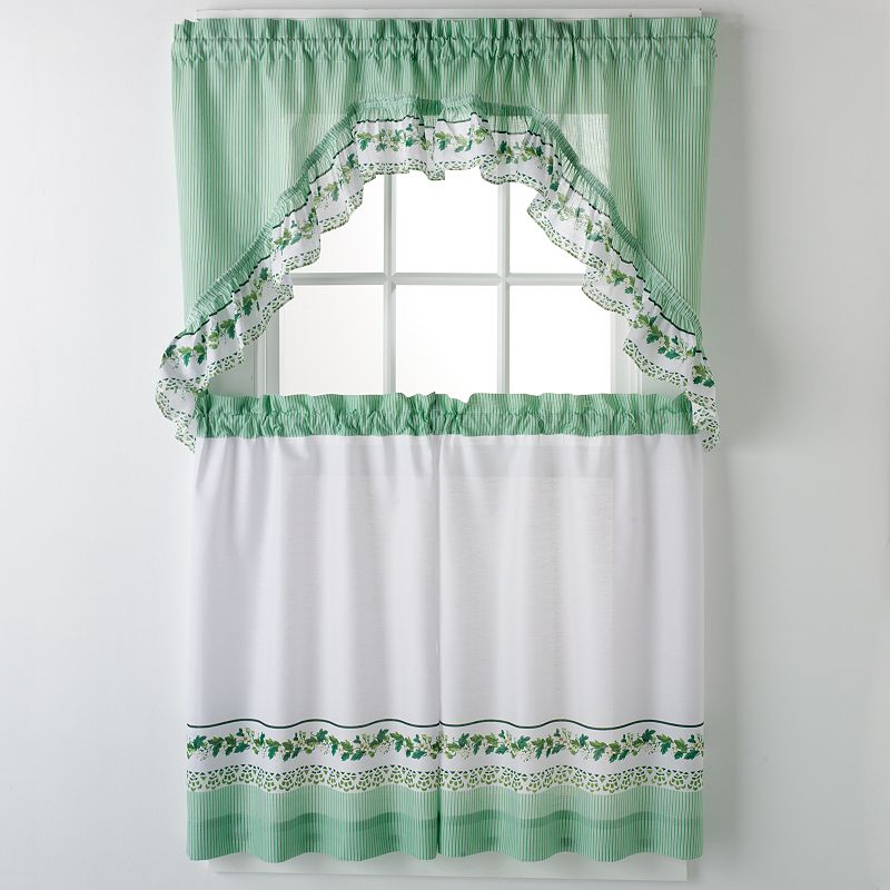United Curtain Co Ivy 3 Pc Kitchen Curtain Set Green Ivy