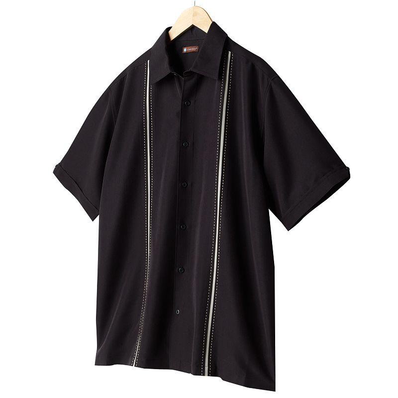 Men's Centro Striped Panel Casual Button-Down Shirt