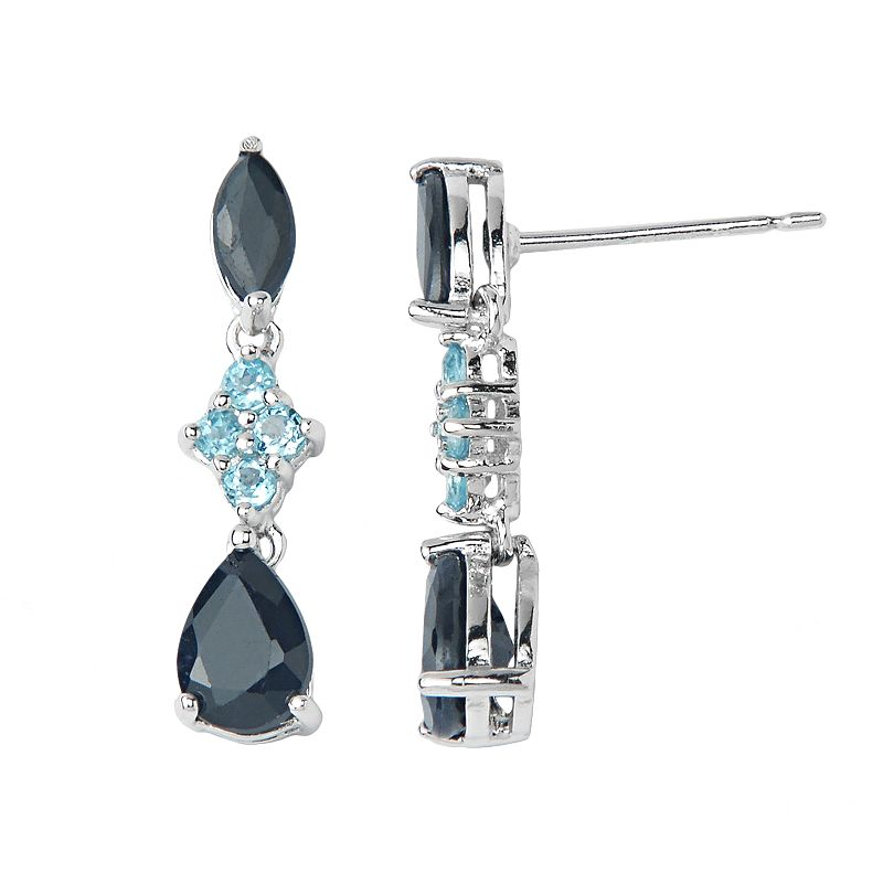 Sterling Silver Sapphire and Swiss Blue Topaz Linear Drop Earrings