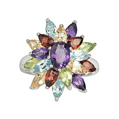 Sterling Silver Gemstone Floral Cluster Ring by