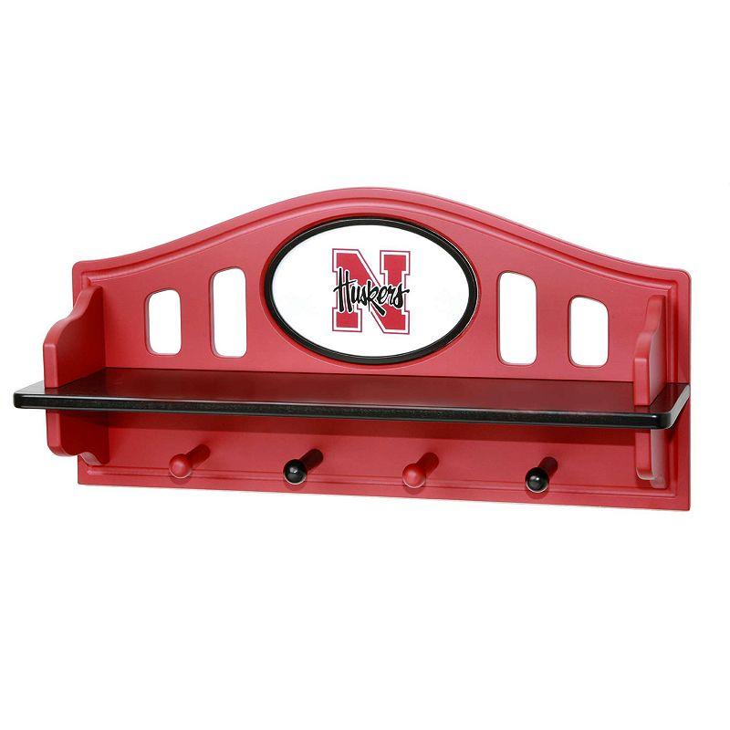 Nebraska Cornhuskers Wooden Shelf