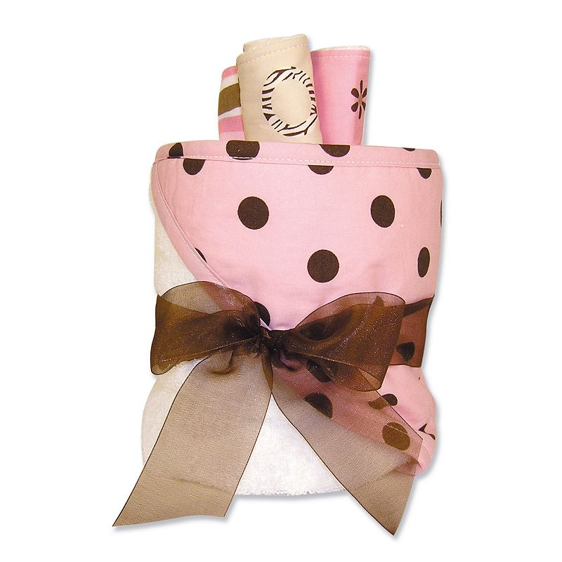 Trend Lab Maya Polka-Dot Towel and Washcloth Gift Cake Set